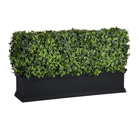 faux ivy privacy screens  planter boxes  windows