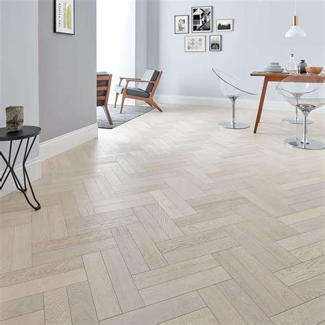 Goodrich Whitened Oak Parquet Flooring   Woodpecker Flooring