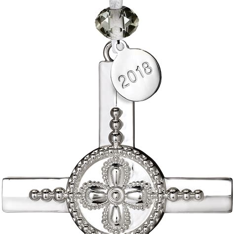 waterford silver cross christmas ornament  silver