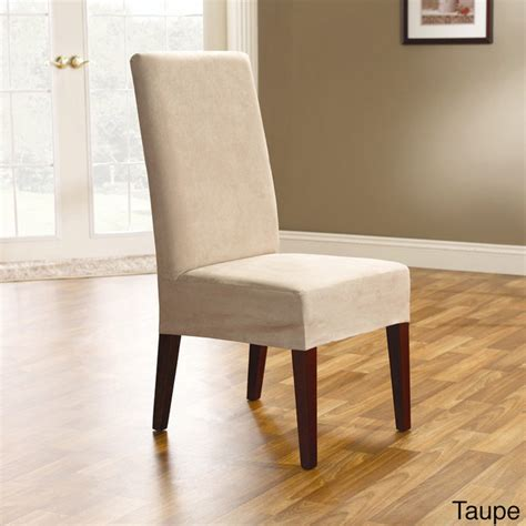 Overstockcom Dining Room Chair Covers smooth suede shorty dining room chair covers set of 2