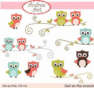 Owls clip art cute owls on the branch pink by Audreeartclipart