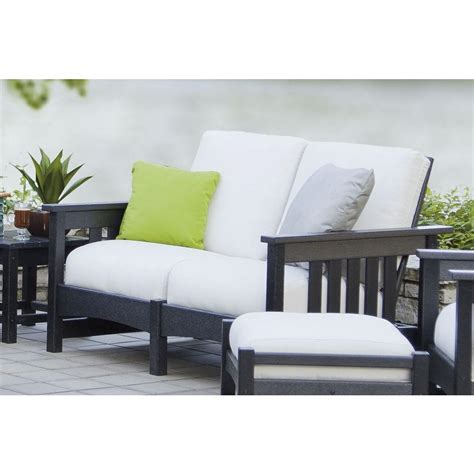 Patio Settee by Polywood Mission Black Plastic Patio Settee With Sunbrella