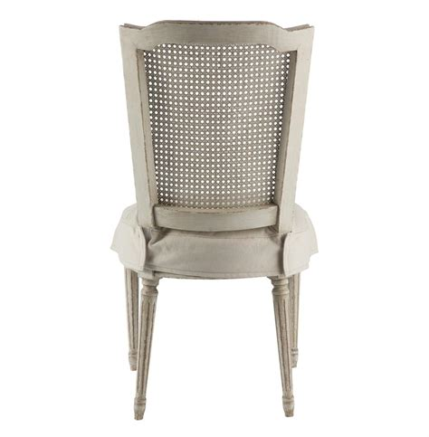 pair country antique white slip cover dining chair