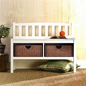 White, Bench, With, Rattan, Storage, Baskets