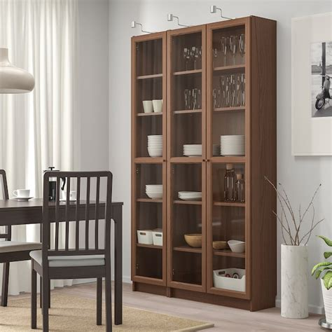 Ikea Bookcase Glass Doors by Billy Oxberg Bookcase With Glass Doors Brown Ash