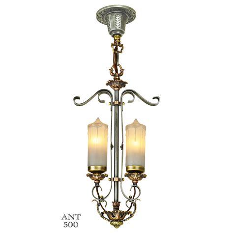 1920s deco candle style 2 light antique pendant