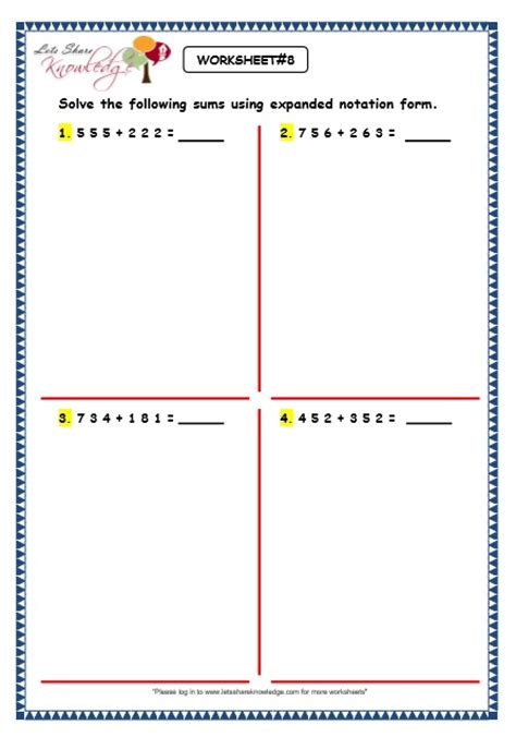 Expanded Form Addition Worksheets  Free Second Grade Math Worksheets Addition Subtraction