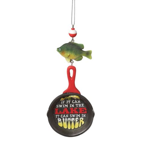 frying pan with fish bobber christmas ornament