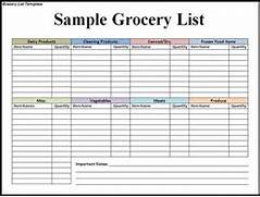 Free Grocery List Temp...