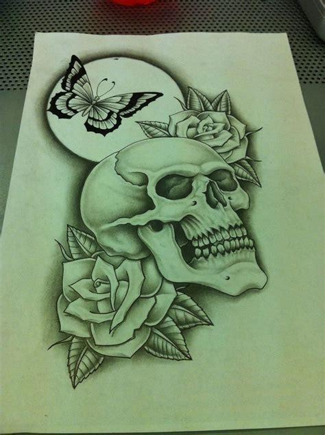 skull butterfly roses redo  nsanenl  deviantart butterfly skull  rose tattoo