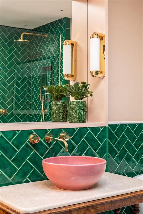 emerald green metro tiles pink ceramic sinks marble