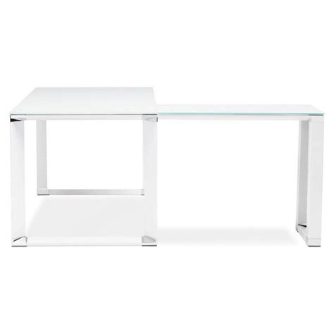 bureau verre blanc bureau d 39 angle design master en verre trempé blanc