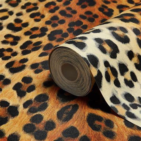 Animal Wallpaper B Q - a s creation leopard print orange brown black