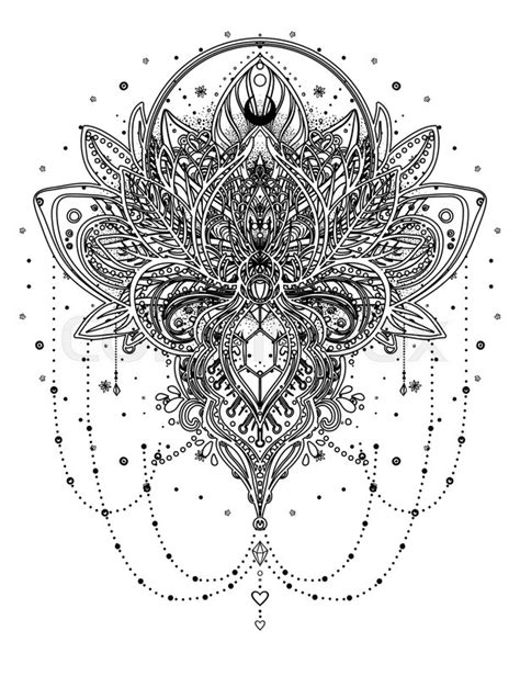 vector ornamental lotus flower  moon  arabesque