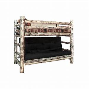Montana woodworksr montana twin over full futon bunk bed for Twin bed over futon