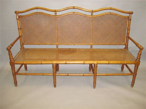 Bamboo Settee - stylish 19th century cherrywood faux bamboo settee or