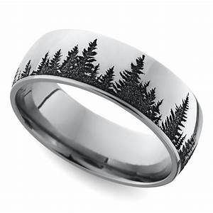 Laser carved forest pattern men39s wedding ring in cobalt for Guys wedding rings