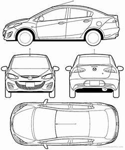 2010 Mazda 2 Sedan Blueprints Free