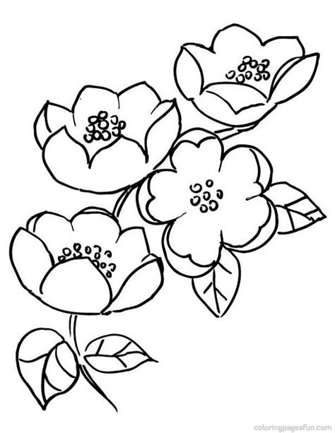 japanese flower coloring pages | pics | Flower coloring pages, Tree coloring page, Cherry