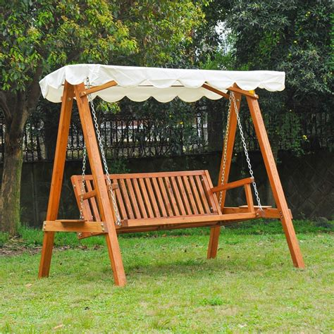 Outsunny 3seater Wooden Garden Swing Chair Seat Benchcream