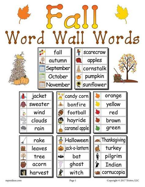 40 fall word wall words fall words word wall