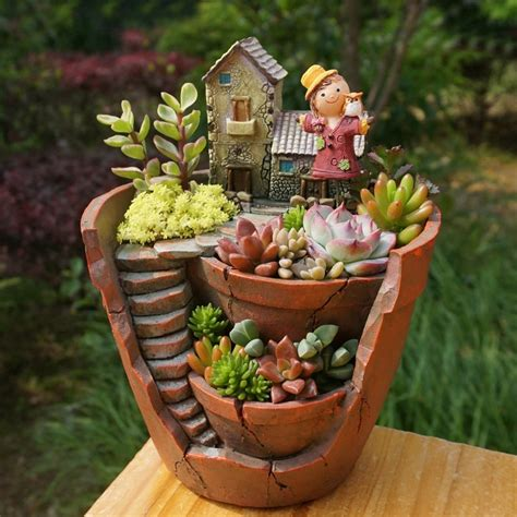 Garden Decoration Pots by 1pcs Creative Diy Resin Flower Pot For Succulent Plants
