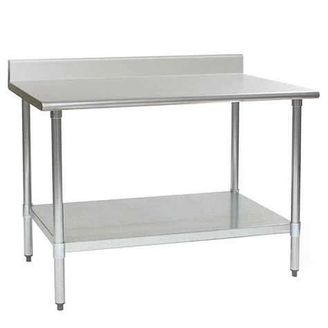 stainless steel work table with two shelves eagle group t2448se bs 24 quot x 48 quot stainless steel work