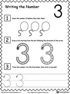 identifying colors worksheet learn to count and write number 3 myteachingstation