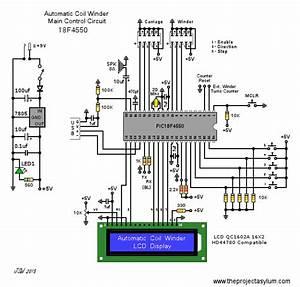 Automatic Coil Winder Pic18f4550 Control Unit Schematic