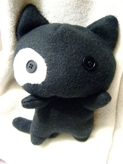 black kitty plush  cat plushie sewing  cut