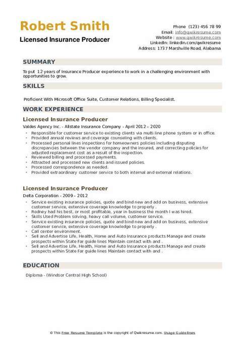 licensed insurance producer resume samples qwikresume