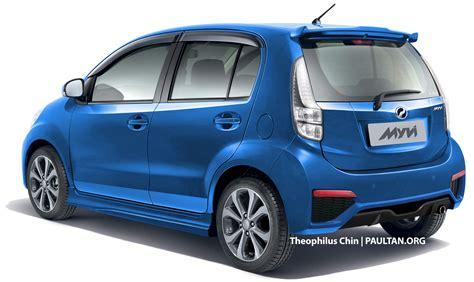biru alza perodua myvi facelift rendered with new rear view