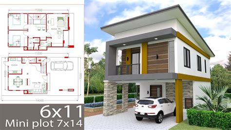 Design Small Home by Small Home Design Plan 6x11m With 3 Bedrooms
