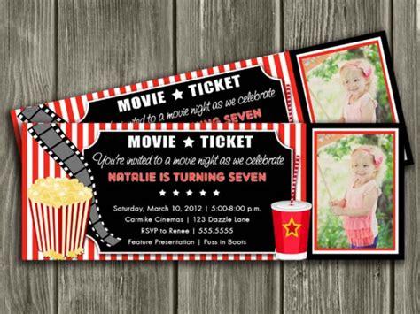 printable  ticket birthday invitation  night