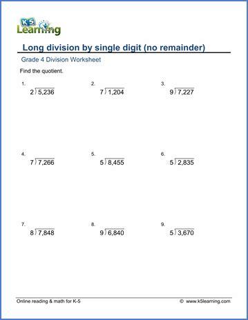 grade 4 division worksheet 4 digit by 1 digit numbers
