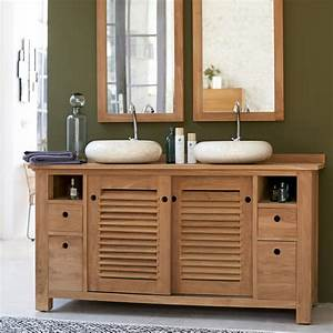 meuble pour salle de bain en teck meubles coline duo sous With aurlane meuble salle de bain