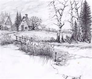Pencil Drawings of Country Scenery