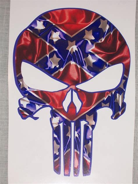 rebel flag punisher skull decal