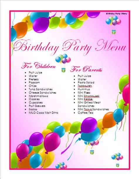 birthday template word birthday menu template microsoft word templates