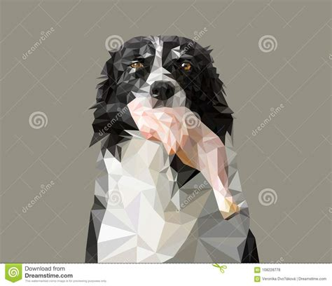 Low Poly Vector Illustration Dog Holding Raw Meat Black