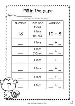 Place Value  Teen Numbers (10 To 19)  Worksheets Printables