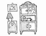 Living Furniture Room Coloring Coloringcrew sketch template
