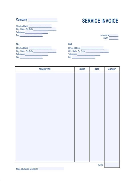 printable invoice forms   ms word excel