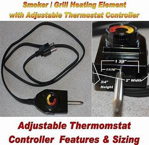 Universal Replacement Electric Smoker And Grill Heating Element With Adjustable Thermostat
