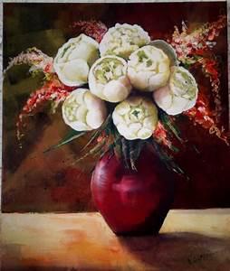 tableau peinture pivoines bouquet fleurs blanc pivoines With affiche chambre bébé avec bouquet de fleur blanc