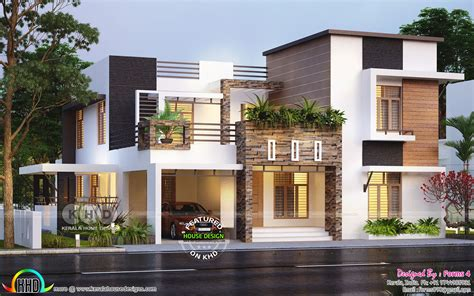 beautiful contemporary style residence  lakhs   kerala house design modern house