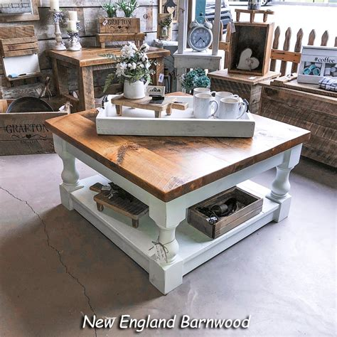 Barn wood and slate coffee table 17 best images about old door tables on pine recycled end primitive reclaimed barnwood rustic set sets wooden google search all custom items custommade com x ana white lodge cabin furniture pottery inspired side hand crafted made to order from american woodworx. Rustic Baluster Style Farmhouse Coffee Table   New England Barnwood