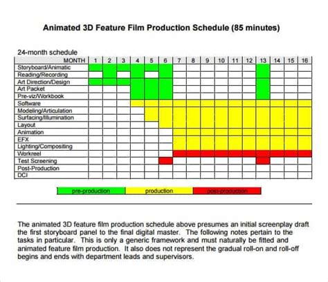 shooting schedule templates word excel  word