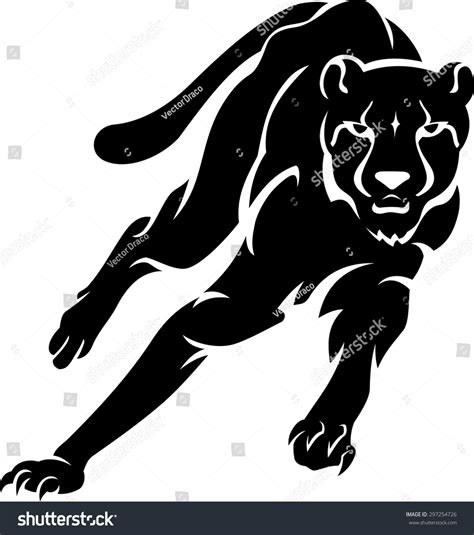 Jaguar Cheetah Silhouette Isolated On White Stock Vector ...