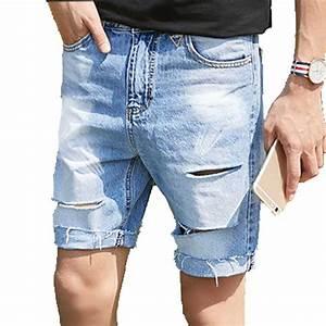 Menu0026#39;s Ripped Destroyed Jeans Shorts Holes Cut Off Denim Half Short Pants Light Blue Dark Gray ...